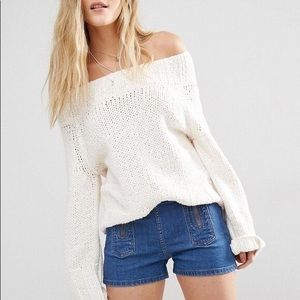 FREE PEOPLE Beachy Slouch Pullover White Sweater L